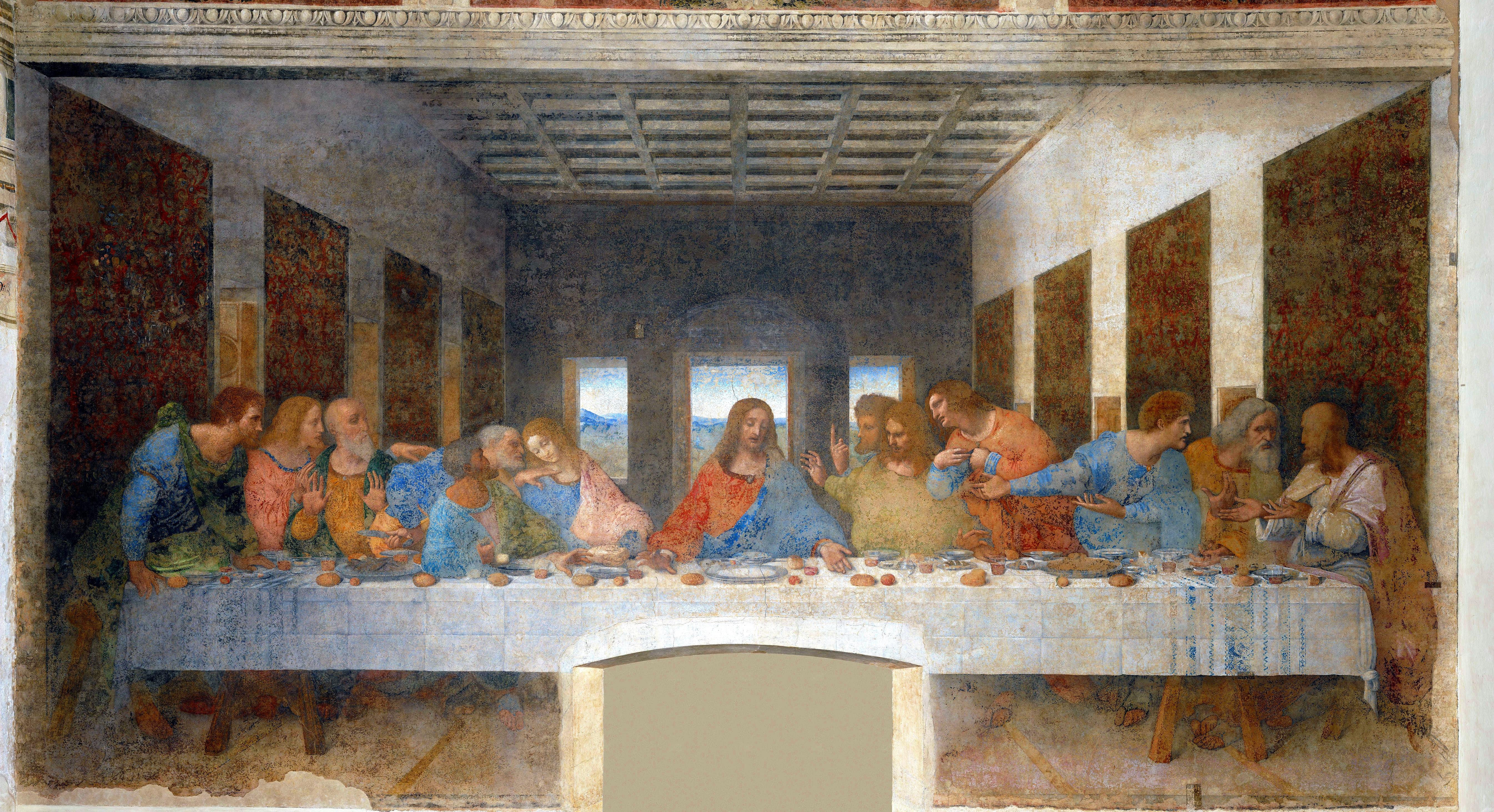 The Last Supper by Leonardo da Vinci (1498), Convent of Sta. Maria delle Grazie, Milan, Italy