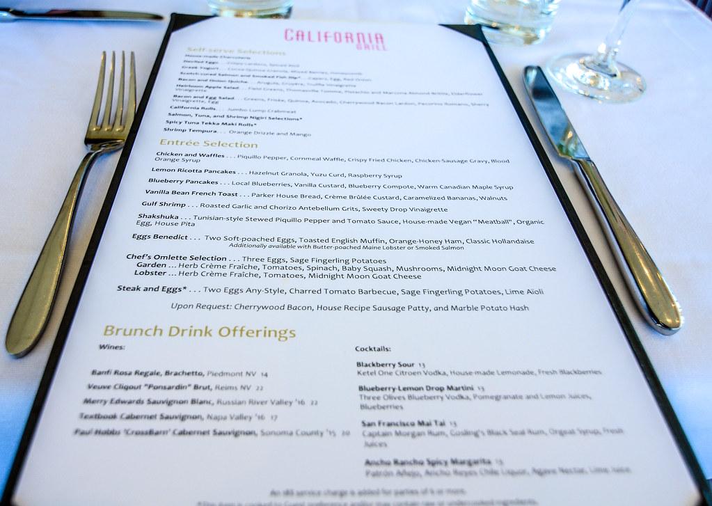 California Grill brunch menu