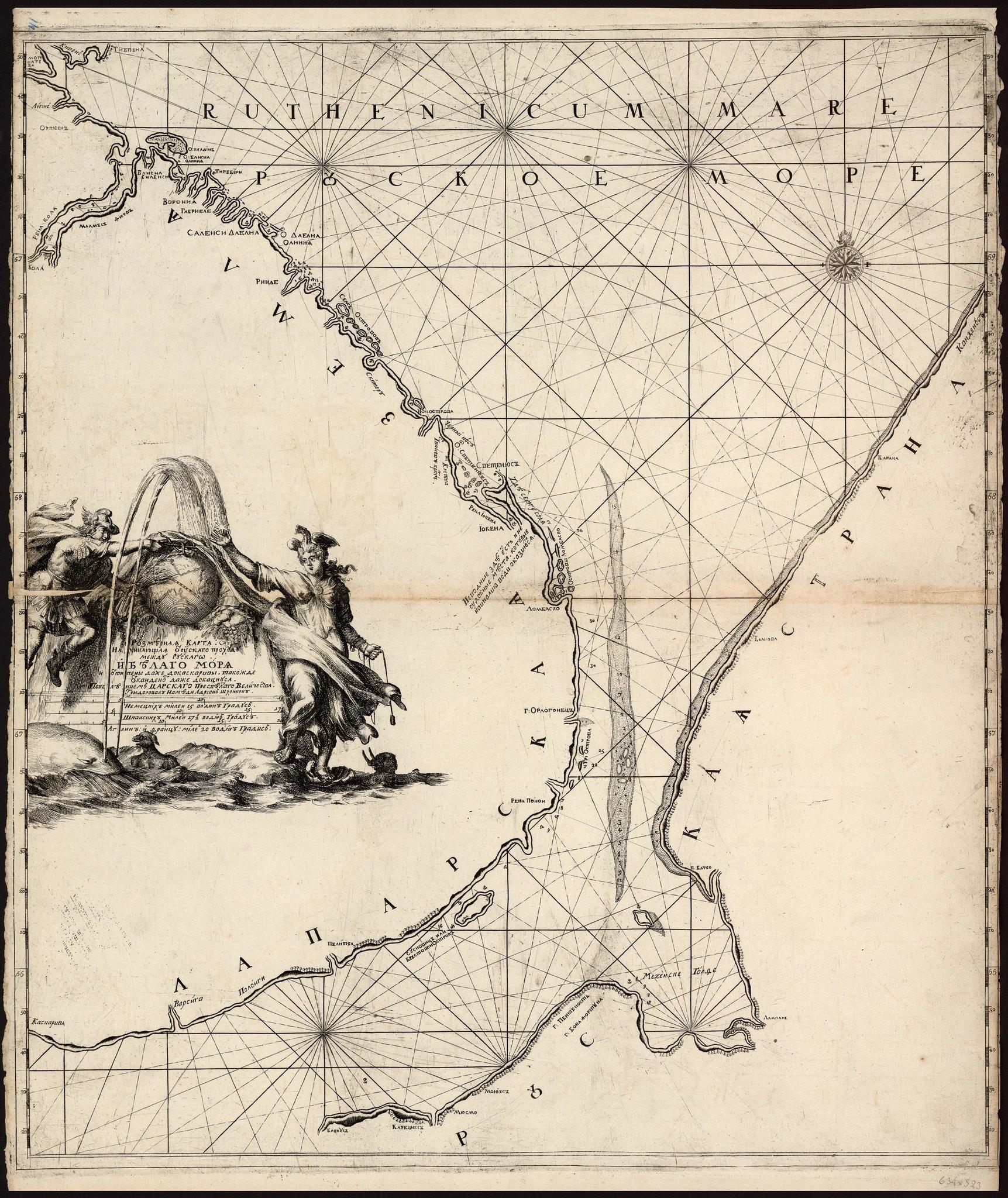 1702. Адриан Шхонебек. Розмерная карта начинающая от узкаго проходу между Рускаго и Белаго моря и от Типены даже до Каскаривы, такожде от Канденос даже до Кацнуса