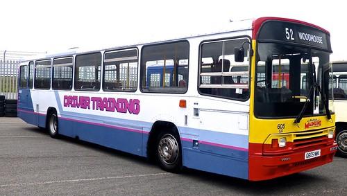 N605 NWA 'Sheffield Mainline' No. 605 'Driver Training'. Volvo B10M / Alexander PS /1 on Dennis Basford's railsroadsrunways.blogspot.co.uk'