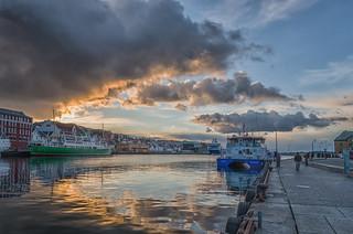 Stavanger Harbor at Sunset