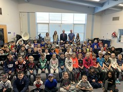 Mrs. Jaclyn Nolan, Ms. Allison Czapla, State Representative John Piscopo, Mr. Michael Dallis, Mrs. Ashley Summa and students from La Garda Elementary School in Burlington met on Friday, January 11, 2019 to discuss details of the legislative process in the Connecticut General Assembly.