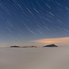 Rigi star trails and sea of fog