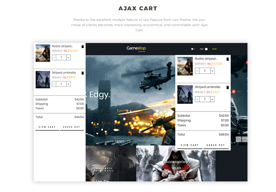Ajax cart - Leo Gamestop - Games Store Prestashop theme