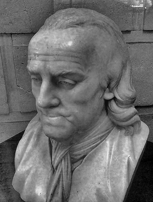 Benjamin Franklin bust after Jean-Jacques Caffieri,, circa 1800, displayed at the Franklin Institute, Philadelphia, PA.