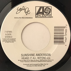 SUNSHINE ANDERSON:HEARD IT ALL BEFORE(LABEL SIDE-A)