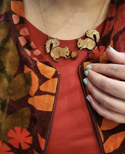handmade squirrel and acorn necklace, palava, february 2019 (photo nina d)