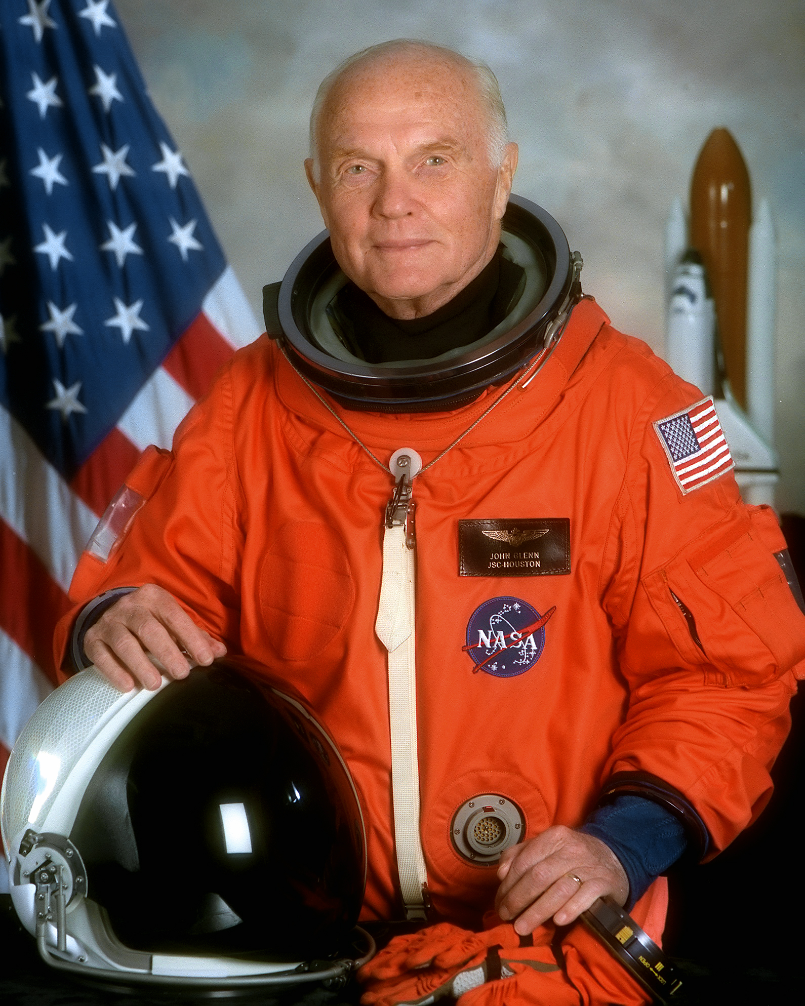 NASA portrait of Senator John Glenn for his second space flight on October 29, 1998, on Space Shuttle Discovery's STS-95.