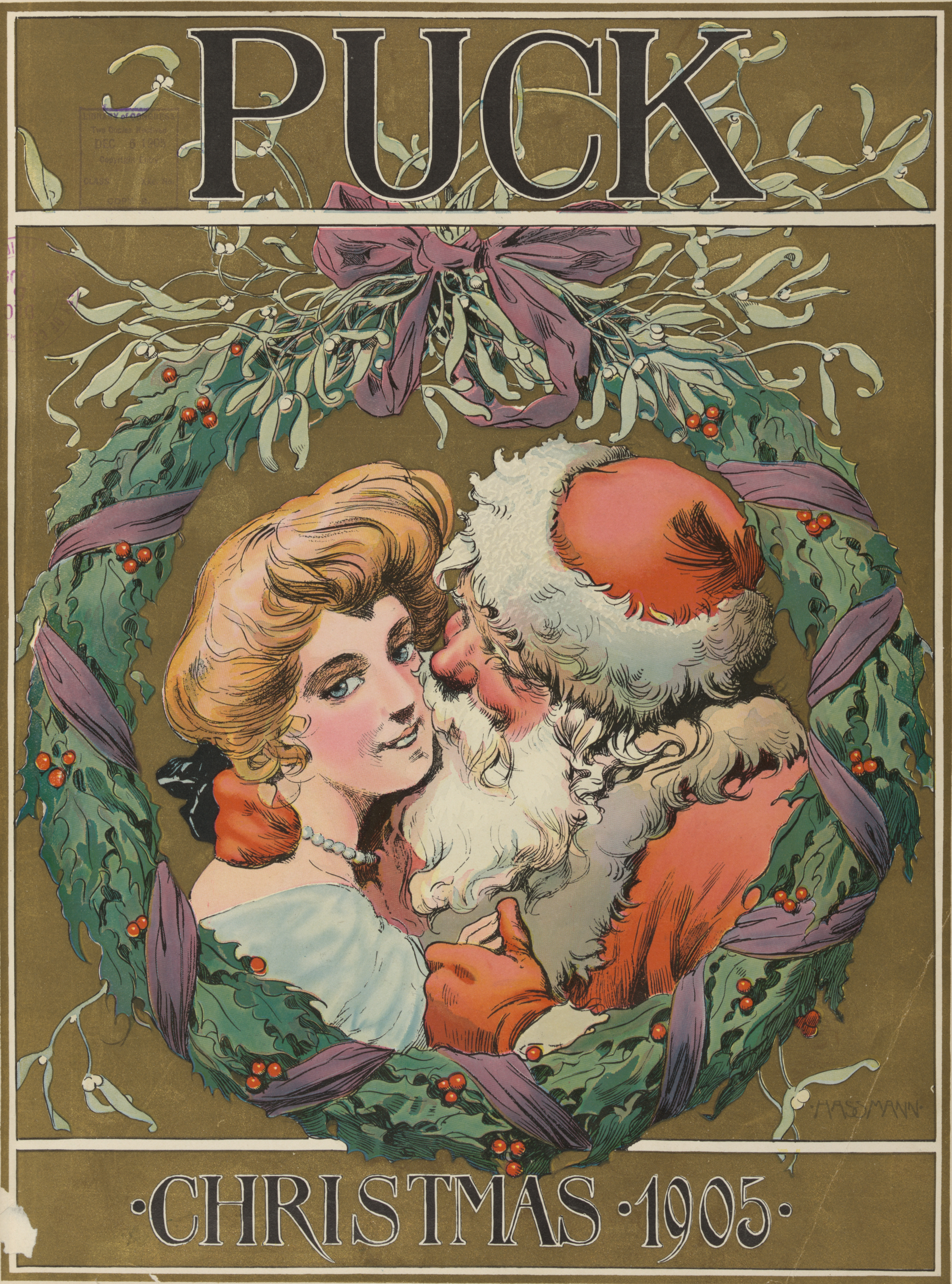 Santa Claus as illustrated in Puck (magazine), v. 58, no. 1501 (December 6, 1905), cover.