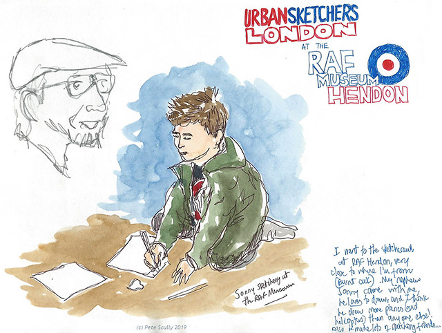 RAF Hendon Sonny sketching