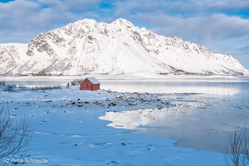 Lofoten islands with a lot of snow.