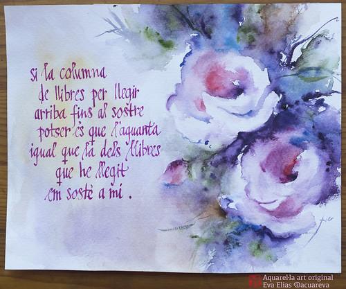 Roses de Sant Jordi. La columna de llibres; aquarel·la de l'Eva Elias, text manuscrit per Ferran Cerdans Serra.