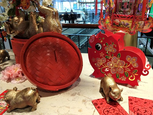From the Mall: Red and gold pigs in Year of the Pig display