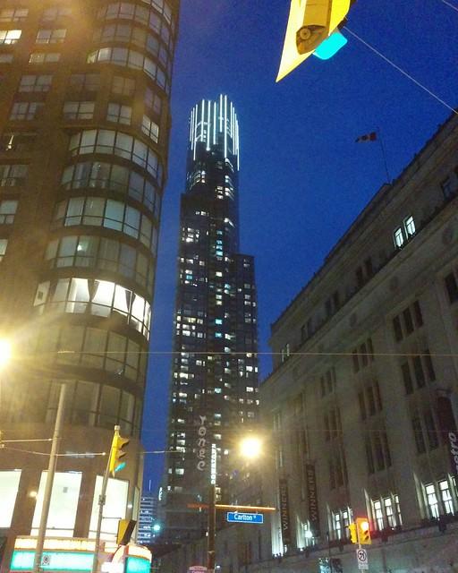 Looking south at Aura Condos #toronto #yongestreet #carltonstreet #auracondo #skyscraper #tower #blue #twilight #latergram