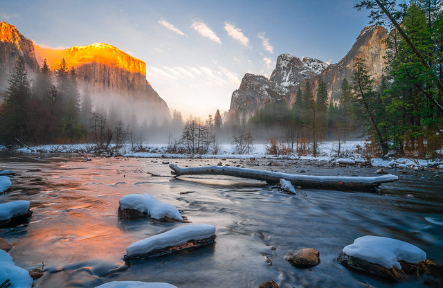 Yosemite Valley View! Colorful Clouds Sunrise! Nikon D850 Yosemite National Park Winter Snow Bridalveil Falls El Capitan Snowy Rocks! Yosemite NP Dr. Elliot McGucken Fine Art Snow Photography!  Sony A7R II & 16-35mm F4 Carl Zeiss Wide Angle Lens!