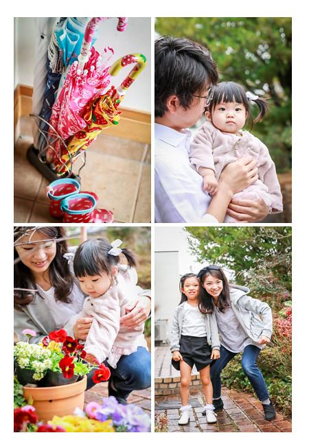 雨の日 カラフルな子どもの傘と長靴 ファミリーフォト