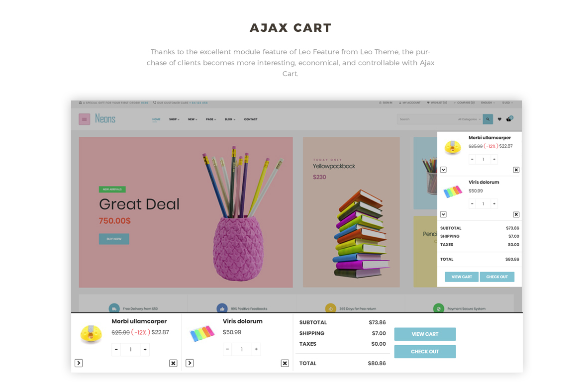 Ajax cart - Leo Neons - Stationery Prestashop theme