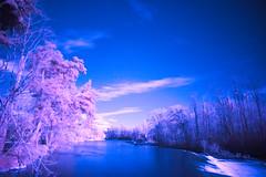 the Ariège river in winter . IR