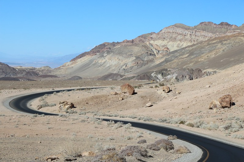 Curving roadway on Artists Drive in Death Valley