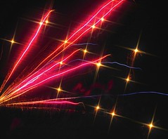 High Saturation and Sparkle Pink Lines and Gold Fireballs