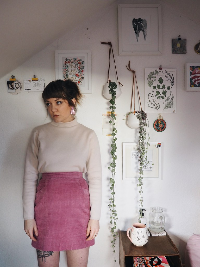 lying dormant - being little - pink winter outfit lyzi unwin pink cord skirt and other stories jumper handmade ring vintage gallery wall