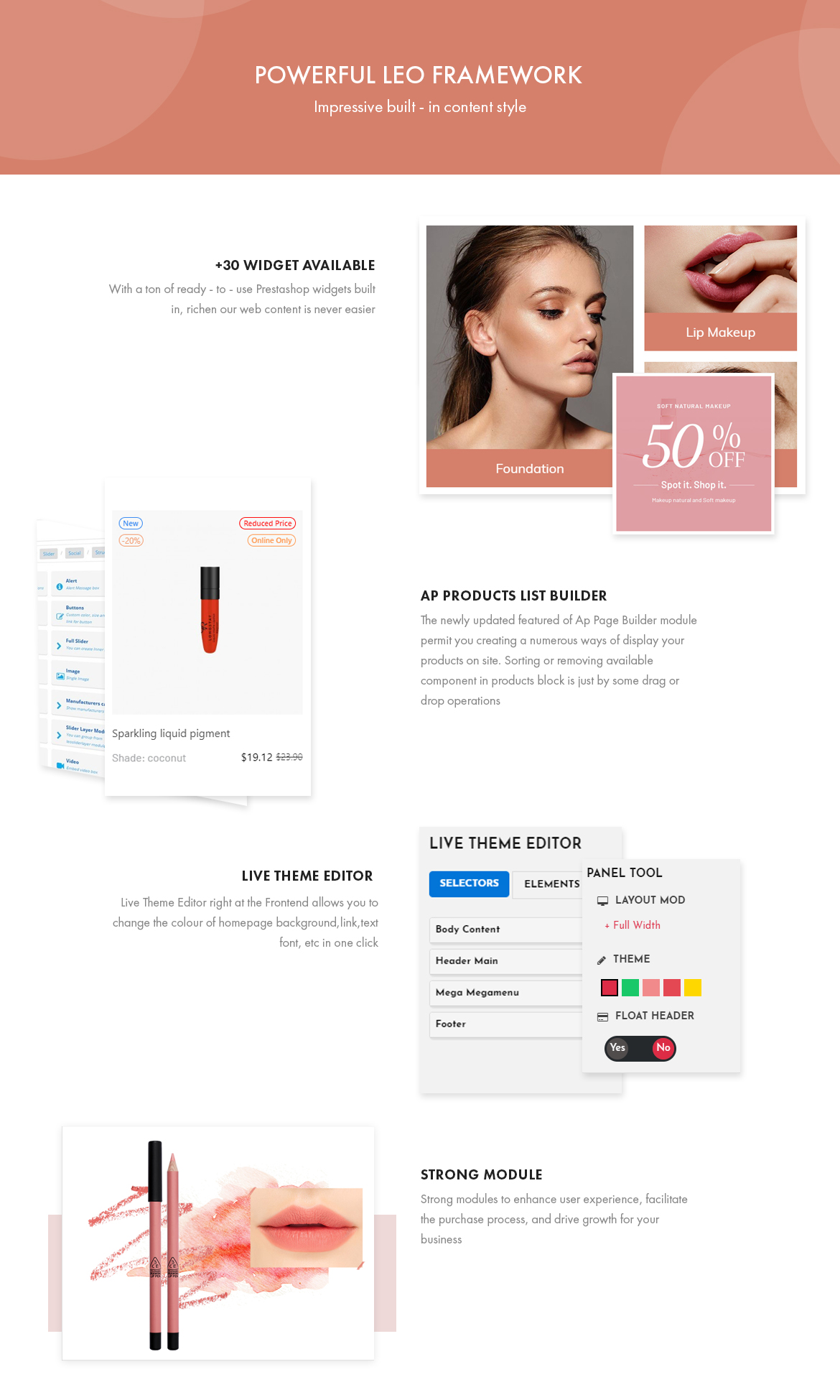 powerful prestashop framework - Leo Sooyoung - Cosmetics and Beauty Prestashop Theme