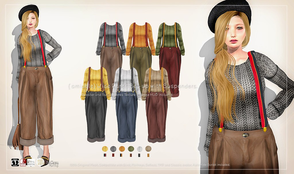{amiable}WIde Pants Set-up with Suspenders@ N°21 Dec(50%OFF SALE). - TeleportHub.com Live!