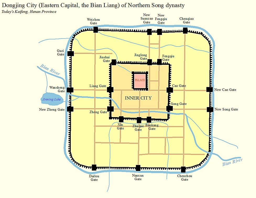 Map of the city of Kaifeng (Dongjing, Bianliang) during the Northern Song Dynasty