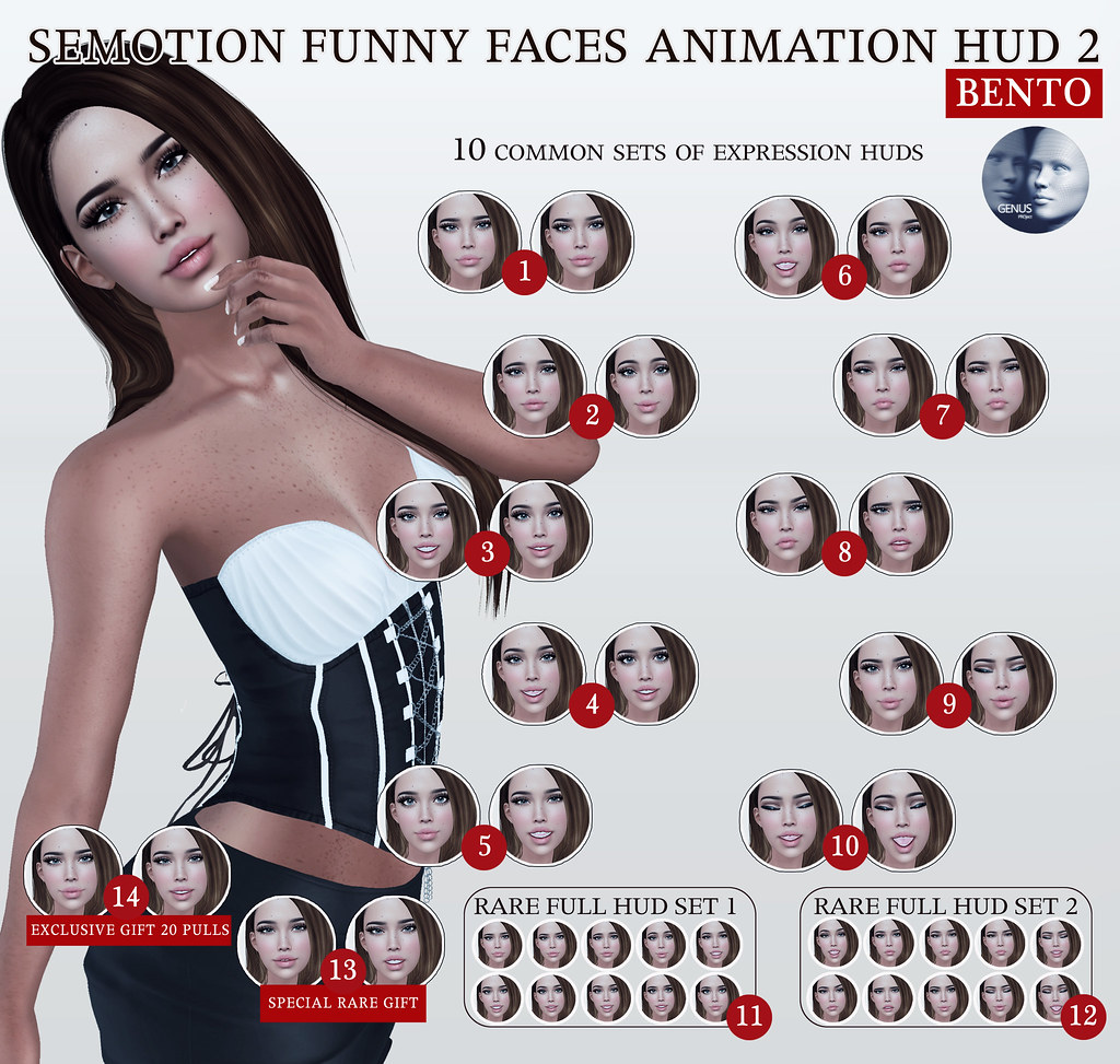 SEmotion Funny Faces Animation HUD 2 Gacha for Genus heads @ GachaLand