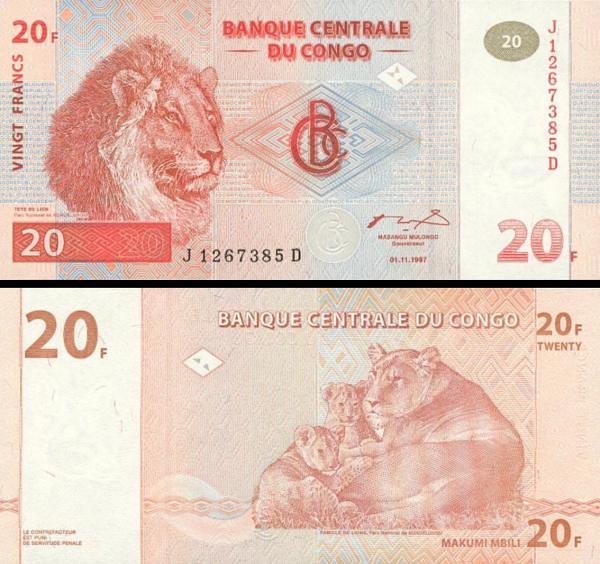 20 Frankov Kongo Dem.Rep. 1997, P88A