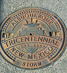 Albuquerque Tricentennial commemorative manhole cover