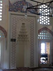Le mirhab, salle de prières, mosquée de Karađoz Bey, 1557-1558,  Braće Fejića, Mostar, Herzégovine-Neretva, Bosnie-Herzégovine.