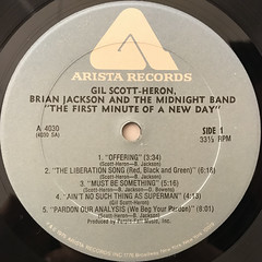 GIL SCOTT-HERON, BRIAN JACKSON AND THE MIDNIGHT BAND:THE FIRST MINUTE OF A NEW DAY(LABEL SIDE-A)