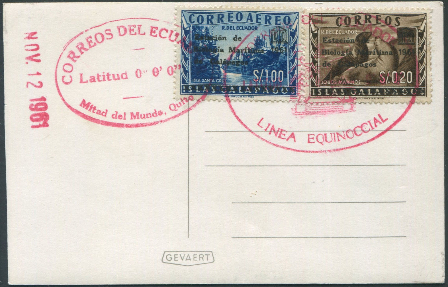 Galapagos Islands released seven stamps as an entity separate from Ecuador between 1957 and 1959 (Scott #L1-L3 and LC1-LC4). In October 1961, Ecuador reissued the stamps with overprints marking UNESCO assistance in establishing Galapagos National Park. These are listed as Ecuador Scott #684-686, the lowest and highest values of which are affixed to the above card.