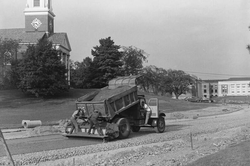 North Eagleville Road construction in front of Storrs Congregational Church