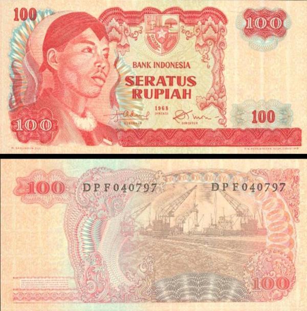 100 Rupií Indonézia 1968, P108a