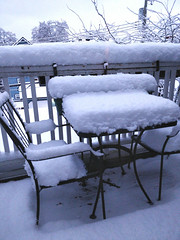 Obligatory photo of snow on patio furniture