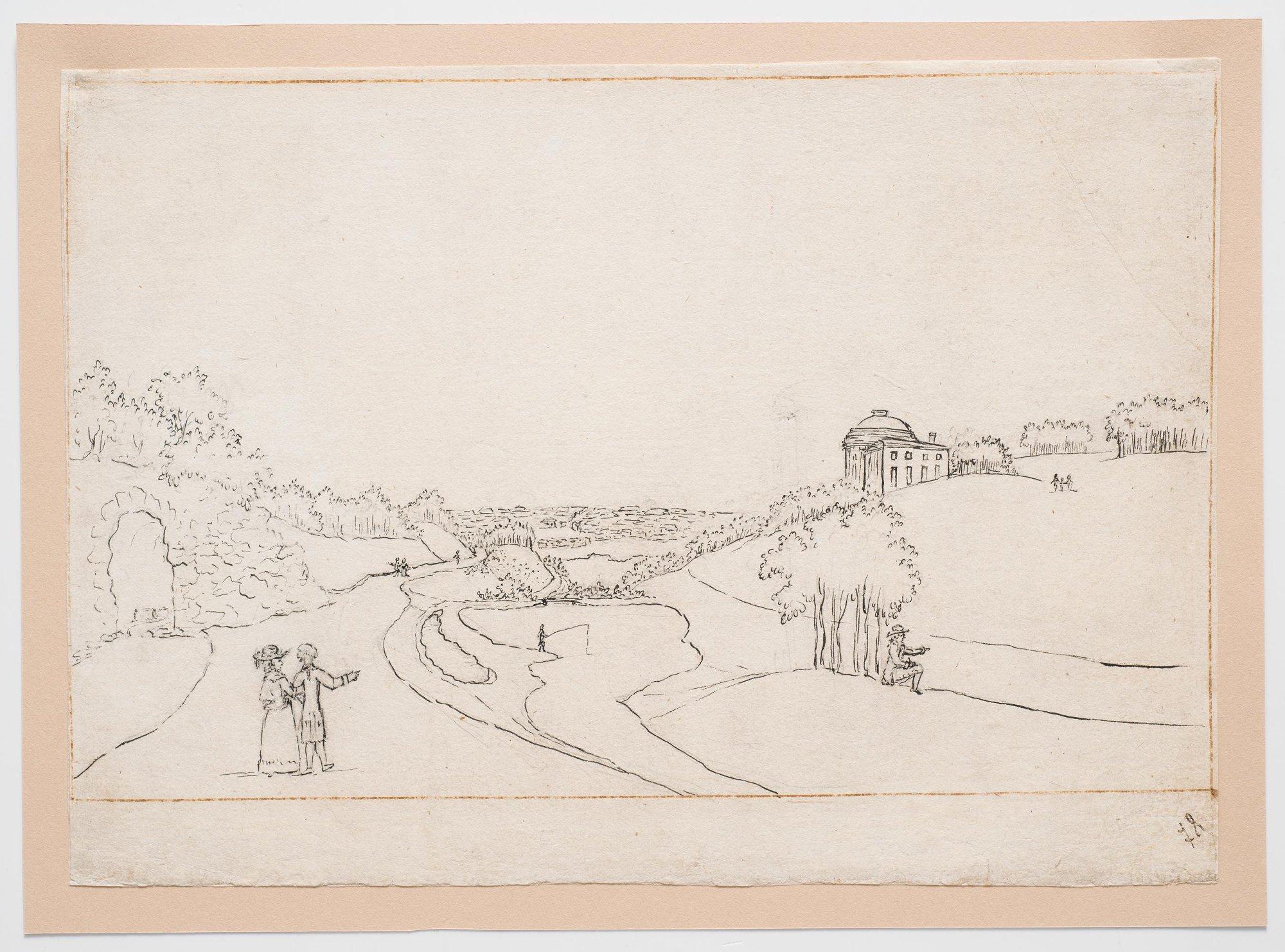 Вид Богородицкого парка с гротом и садовым павильоном на дальнем плане