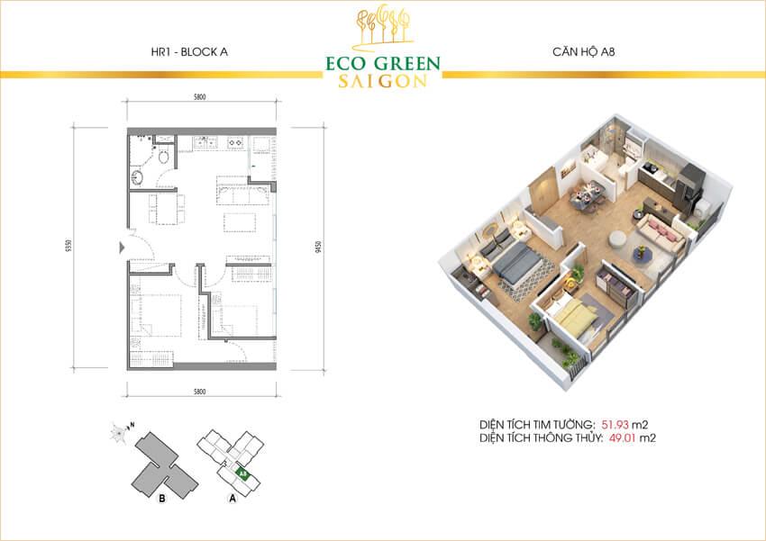 Mặt bằng căn hộ loại A8 với 2 phòng ngủ dự án Eco-Green Sài Gòn quận 7.