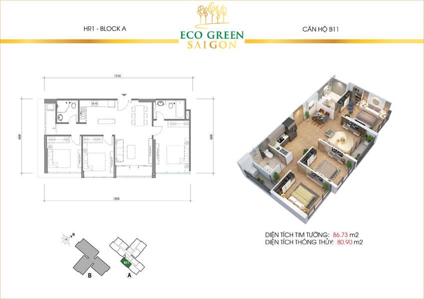 Mặt bằng căn hộ 3 phòng ngủ loại B11 dự án Eco-Green Sài Gòn quận 7.