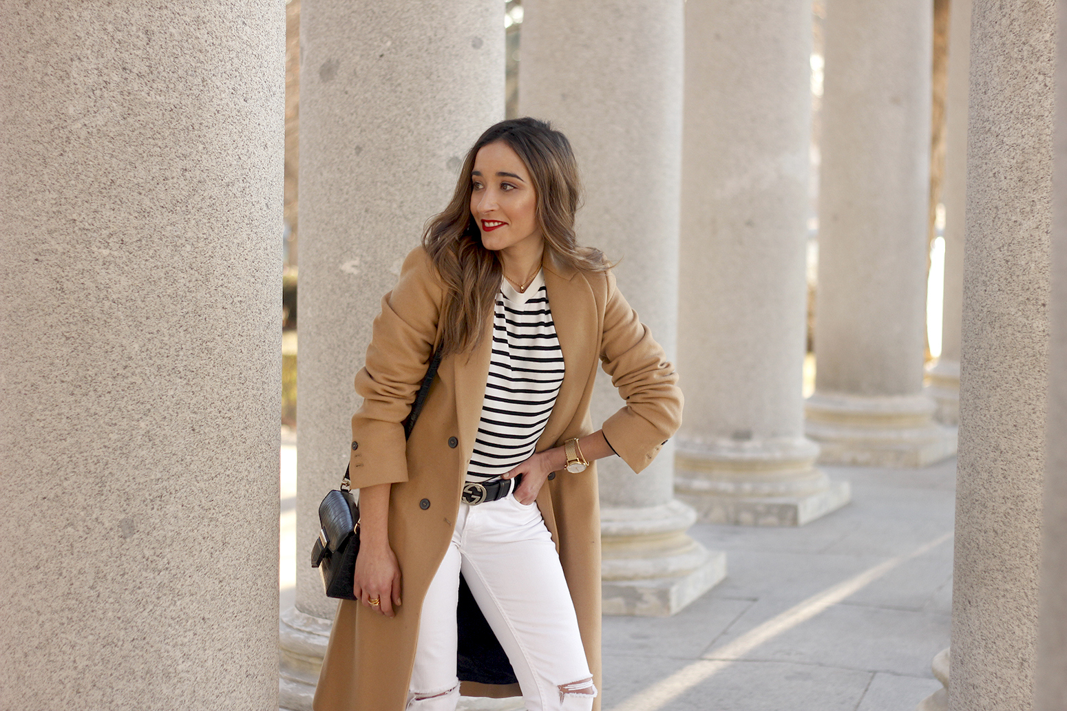 beige coat ripped jeans givenchy bag gucci belt street style outfit 201911