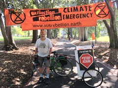 John Englart with bicycle at Extinction Rebellion Declaration Day Melbourne