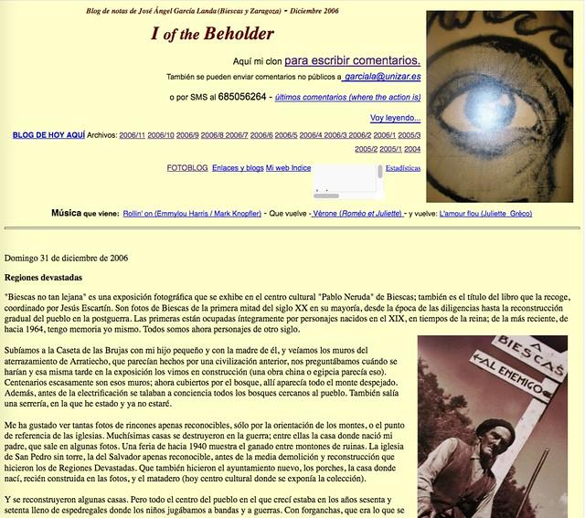 I of the Beholder: Blog de notas de diciembre de 2006