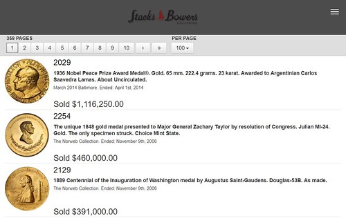 Stacks Bowers auction archives screenshot