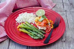 Fish With Asparagus, Rice and Fresh Tomatoe Salsa