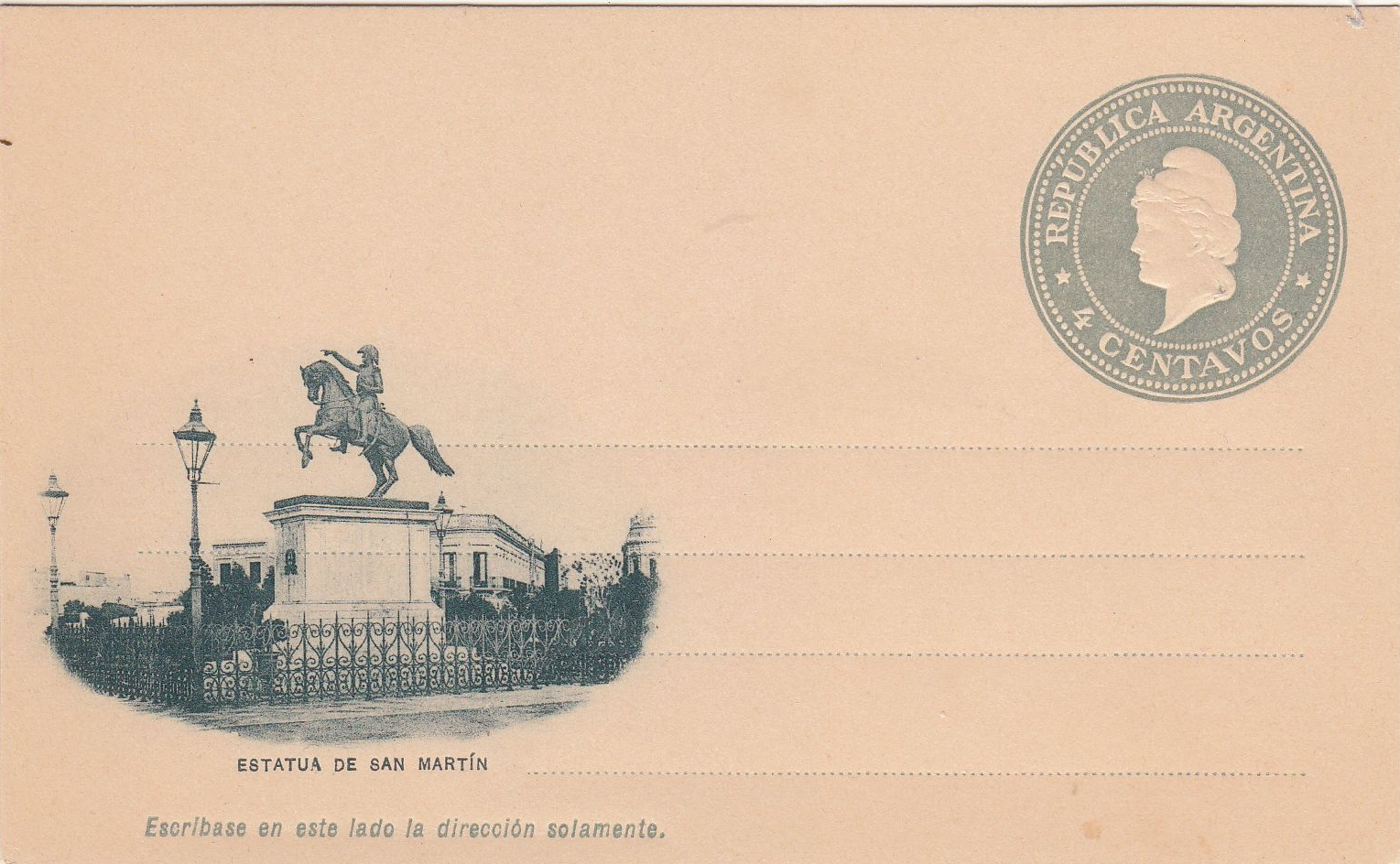 Argentina - postal stationery depicting San Martin equestrian statue