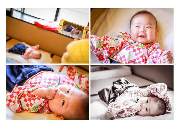 お食い初め 女の子赤ちゃん 袴風ロンパースでコーデ