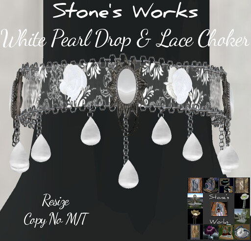 White Pearldrop & Lace Choker Stone'sWorks - TeleportHub.com Live!
