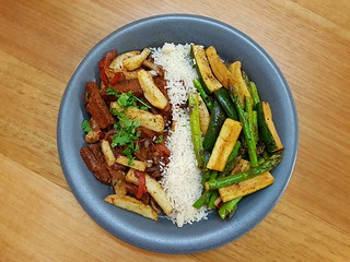 Pan-Grilled Vegetables in Chile-Lime Beer; Seitan Saltado; White Rice