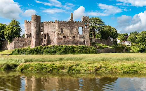 carmarthenshire castle laugharne wales fort water marsh sky landscape building architecture ruins tree tower